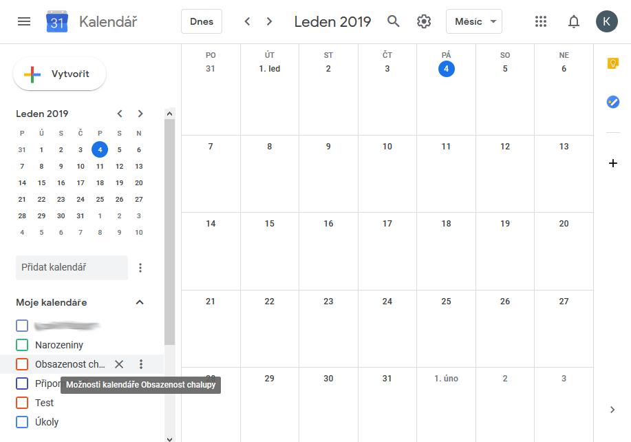 Výběrt google kalendáře k exportu