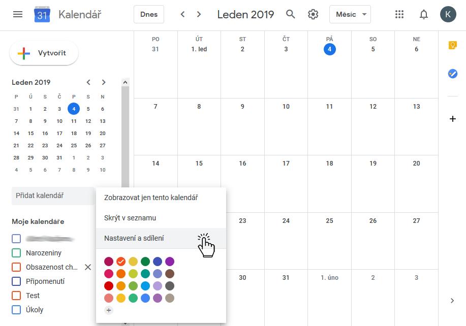 Google kalendář nastavení a sdílení