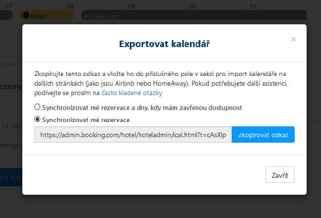 Export iCal kalendáře z booking.com