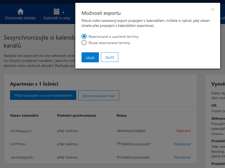 Možnosti exportu admin booking com